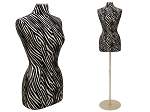Female Body Form Size 6/8 Leather Zebra Pattern Cover, Form Only