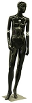 Glossy Black Flexible Arm Female Mannequin