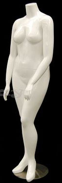 Glossy White Headless Plus Size Female Mannequin
