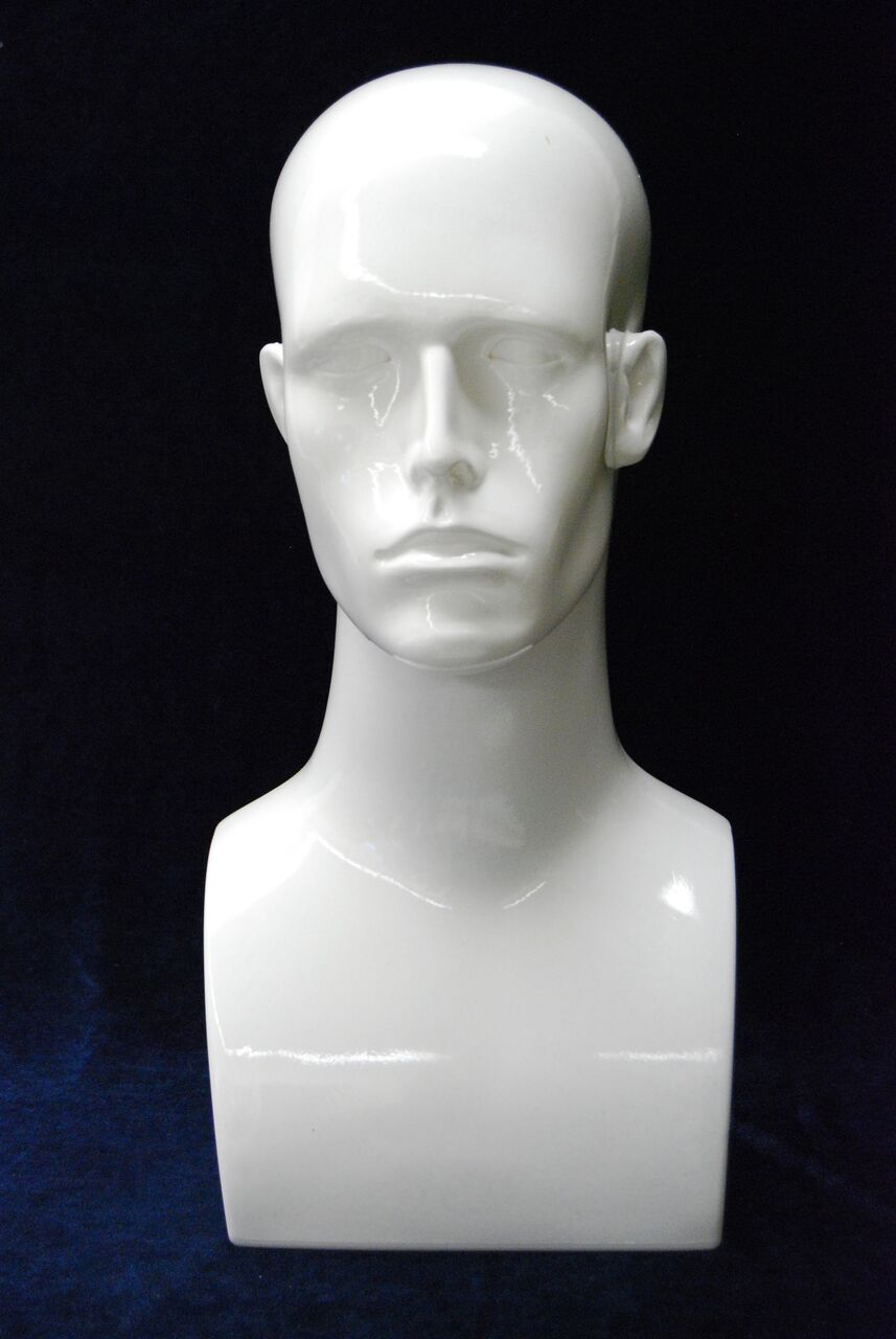 Male Mannequin Head Glossy White