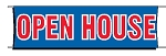 Giant 3'x10' Open House Banner - Red-White-Blue