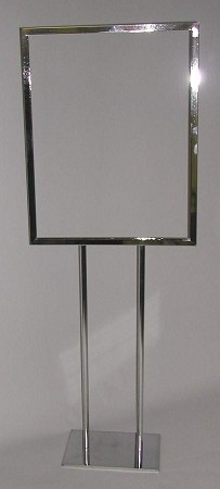 Chrome Bulletin Sign Holder - Twin Uprights