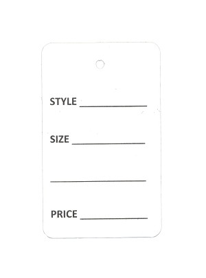 Non-Perforated White  Tags (Box of 1000) - Choose Size & Style