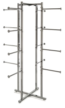 "Folding Lingerie Tower w Round Tubing Arms -61"" High"