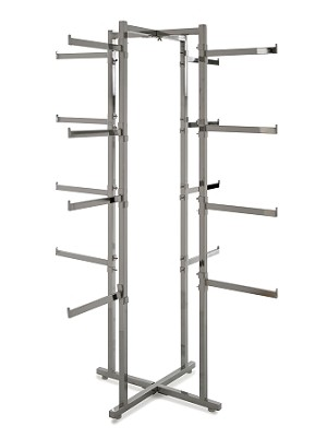 "Folding Lingerie Tower w Rectangular Tubing Arms -61"" High"