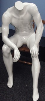 Glossy White Sitting Heradless Male Mannequin