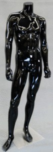 Glossy Black Headless Male Mannequin