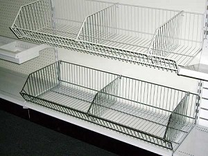 "9"" X 30"" Satin Chrome Open Ended Baskets (Box of 4)"