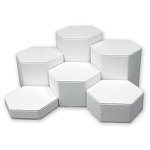 6 Pc White Leatherette Hexagonal Jewelry Riser Set