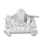 White Leatherette 23 Piece Jewelry Display