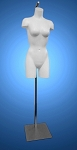 Unbreakable Full Round Molded Female Torso Form - White with hanging floor base