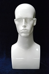 Male Mannequin Head - Glossy White