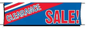 Giant 3'x10' Clearance Sale Banner - Red-White-Blue