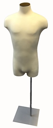 Male 3/4 Cream Jersey Torso Form with Silver Base