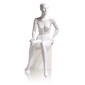 White Female Sitting Mannequin with Molded Face & Hair