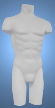 Unbreakable Full Round Molded Male Torso Form -White
