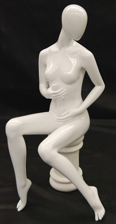 Glossy White Female Egghead Fashion Mannequin with Stool