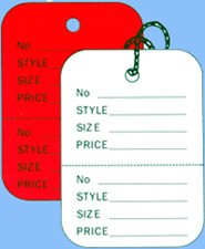 Red Perforated Tags - Strung